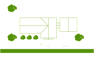 Diagram depicting hidden dog fence installation with individual front and back yard zones