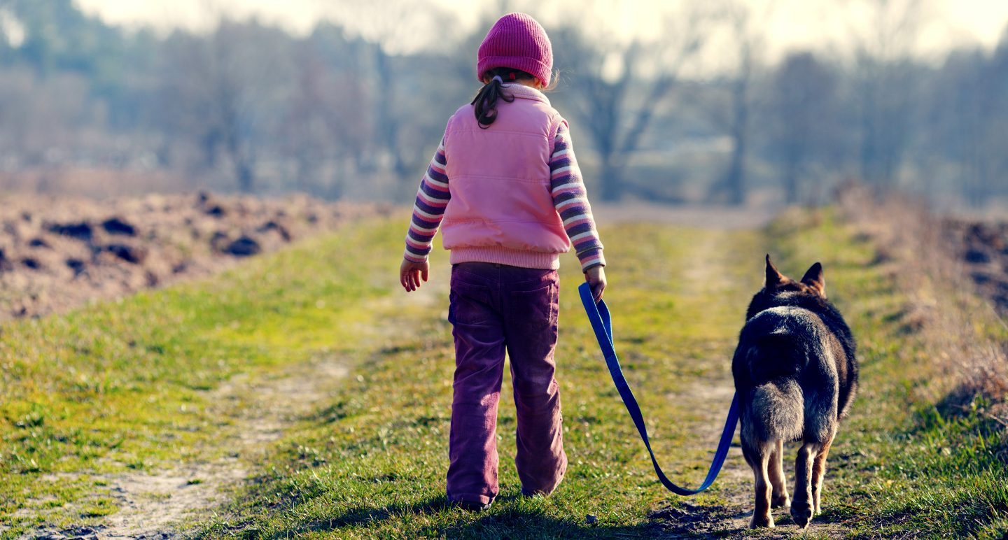little girl with dog walking side by side
